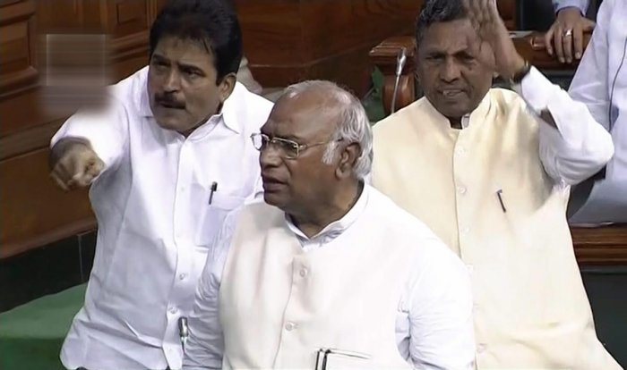 Congress Parliamentary Party leader Mallikarjun Kharge speaks during the first day of the Monsoon session of Lok Sabha. PTI file photo.