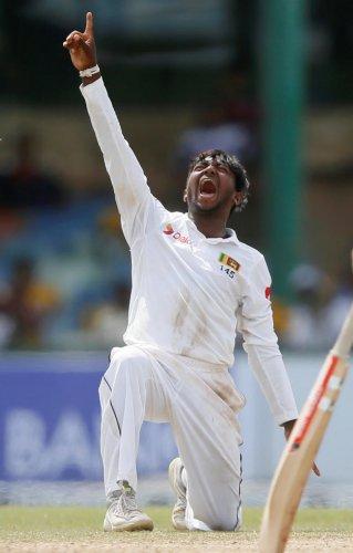 WRECKER-IN-CHIEF Sri Lanka's Akila Dananjaya celebrates the dismissal of South Africa's Dale Steyn on Saturday. REUTERS