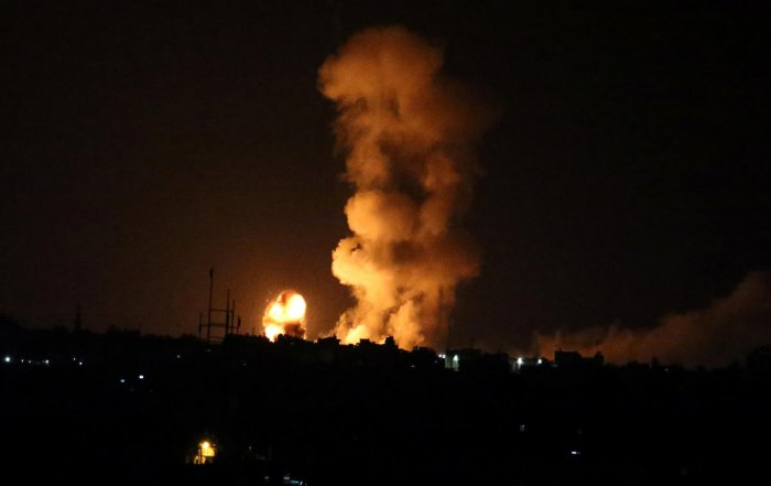 An explosion is seen following an Israeli air strike in the southern Gaza Strip. Reuters photo.