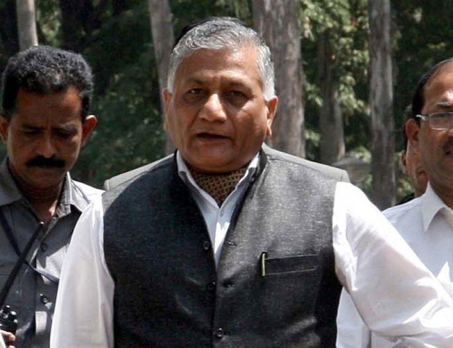 Union Minister of State for External Affairs V K Singh. PTI file photo