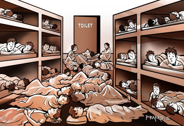 About 50 inmates of the Government Observation Homes for Boys in Madiwala are packed into one dormitory with a single toilet.