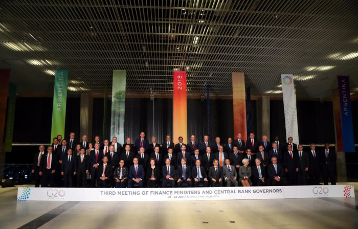 Finance ministers and Central Bank presidents pose for the official photo at the G20 Meeting of Finance Ministers in Buenos Aires, Argentina. REUTERS photo.