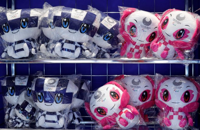 Dolls of Tokyo 2020 Olympic Games mascot Miraitowa and Paralympic mascot Someity are displayed at the mascot house in Tokyo. Reuters