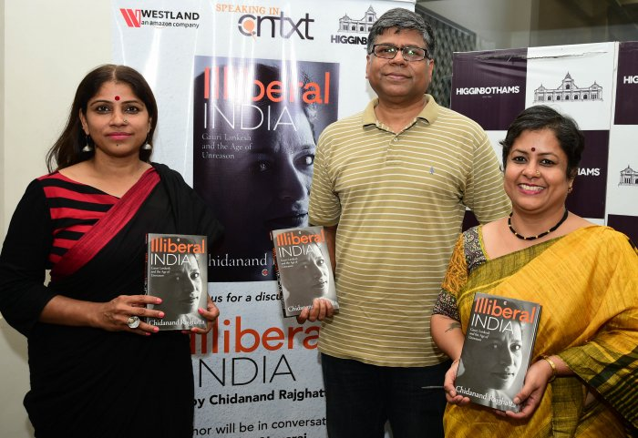(From left) Vasanthi Hariprakash, Chidanand Rajghatta and Preethi Nagaraj at the  book launch at Higginbothams, MG Road.