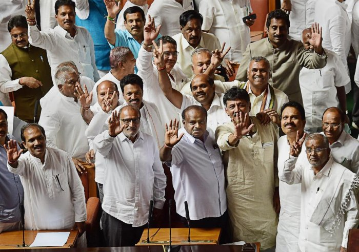 A fractured verdict in the 2018 Assembly polls witnessed the JD(S) and the Congress come to together to stitch an alliance to form a coalition government. (PTI File Photo)