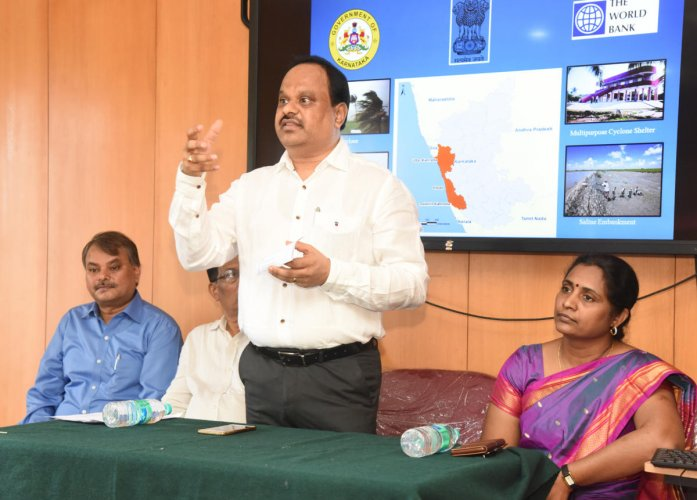 Zilla Panchayat CEO Dr M R Ravi speaks after inaugurating a district-level workshop on cyclone and flood management in Mangaluru on Tuesday.