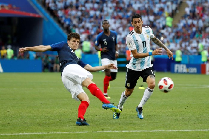 France's Benjamin Pavard scores against Argentina in their World Cup game on June 30. The goal was voted the best of the tournament.