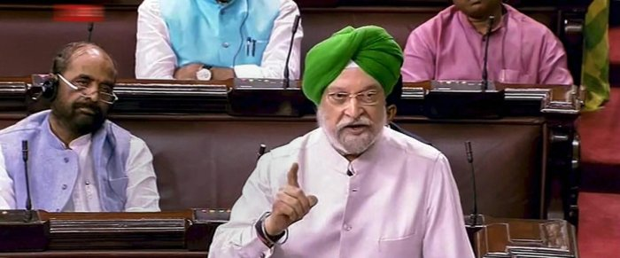 New Delhi: Urban Development Minister Hardeep Singh Puri speaks in the Rajya Sabha on the first day of the Monsoon session of Parliament, in New Delhi on Wednesday, July 18, 2018.