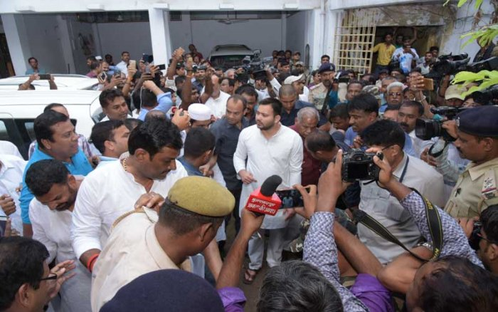 Tejashwi, who led a nine-member delegation of Opposition leaders, including former Chief Minister Jitan Ram Manjhi and Congress Legislature Party (CLP) leader Sadanand Singh, to Muzaffarpur's shelter home on Wednesday, raised two pointed questions to Nitish. Credits: Mohan Prasad