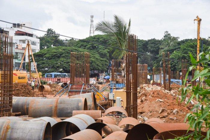 Gone green: Metro work at the Marenahalli Park in Jayanagar. DH Photo/Janardhan b k