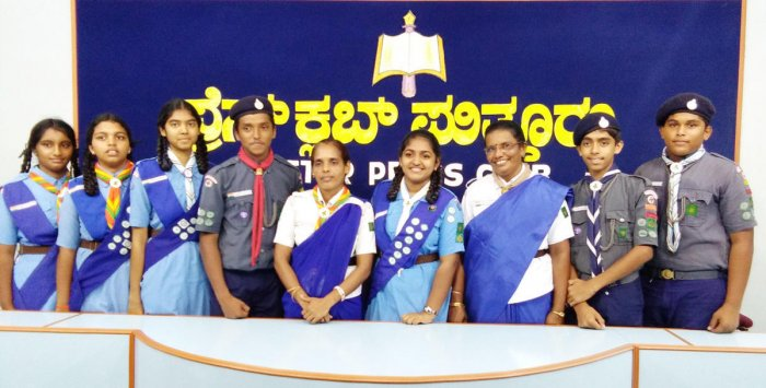The seven students from Puttur who will take part in the Nippon Scout Jamboree.