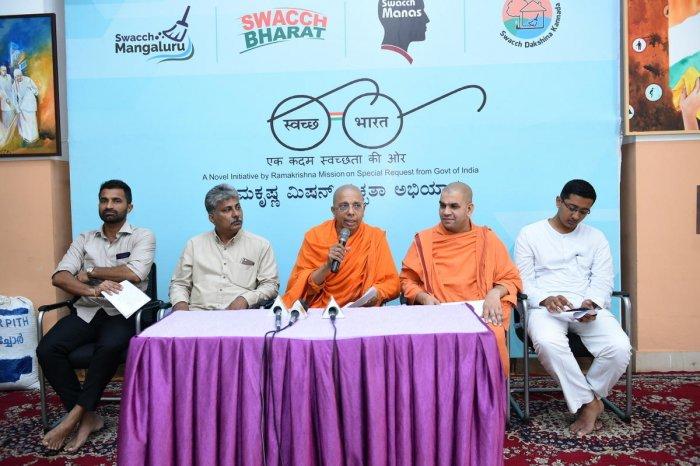 Swami Jitakamananda, Ramakrishna Mutt Mangaluru president, speaks at a press conference on the Mutt premises in Mangaluru on Thursday.