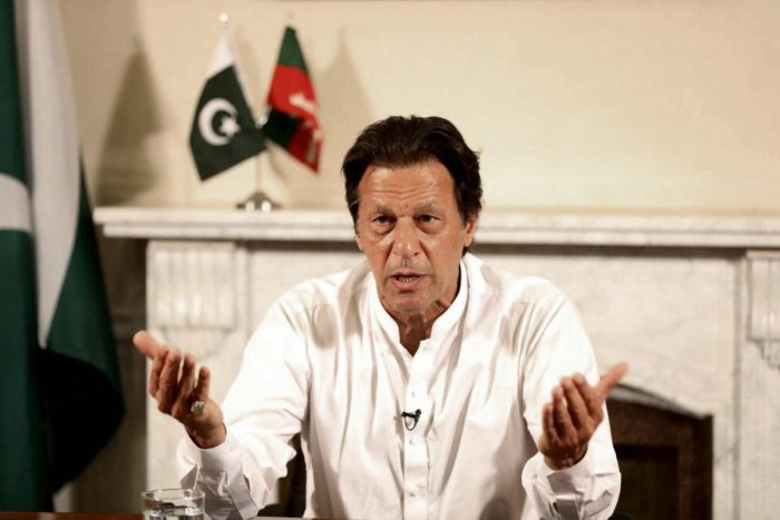 In this photo provided by the office of Pakistan Tehreek-e-Insaf party, Pakistani politician Imran Khan, chief of Pakistan Tehreek-e-Insaf party, delivers his address in Islamabad, Pakistan, on Thursday. (AP/PTI)