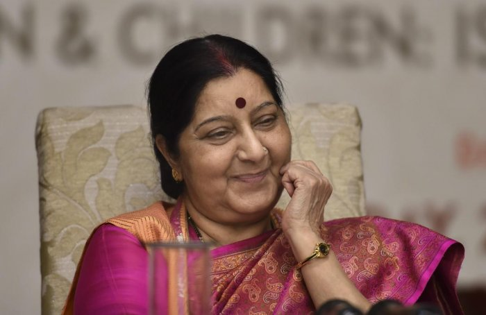 External Affairs Minister Sushma Swaraj looks on, during the 'National Conference on NRI marriages and trafficking of women and children', in New Delhi on Friday, July 27, 2018. (PTI)