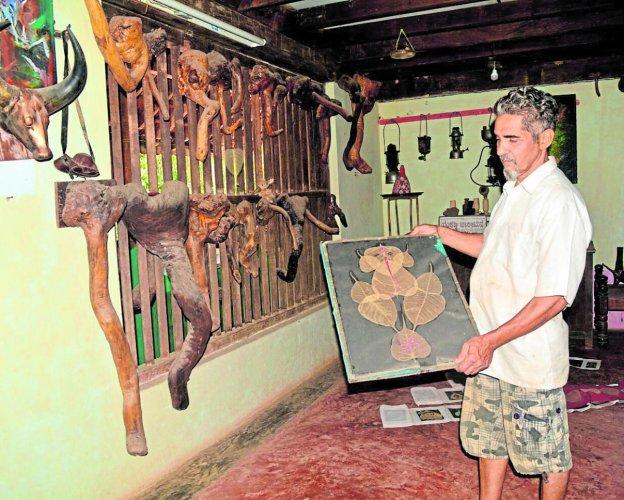 Venkatramana Hegde in Swastik Art Gallery, Uttara Kannada district.