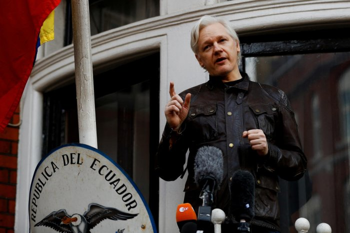 WikiLeaks founder Julian Assange is seen on the balcony of the Ecuadorian Embassy in London. Reuters file photo.