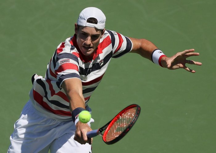 John Isner of the United States returns Australia's Matthew Ebden during their semifinal tie of the Atlanta Open. AFP