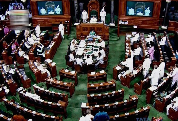 A view of the Lok Sabha during the Monsoon session of Parliament, in New Delhi on Monday. LSTV Grab via PTI