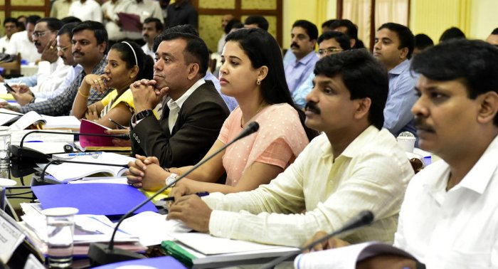 Deputy commissioners and Zilla Panchayat chief executive officers from across the state are all ears at a meeting convened by the chief minister at Vidhana Soudha in Bengaluru on Monday.