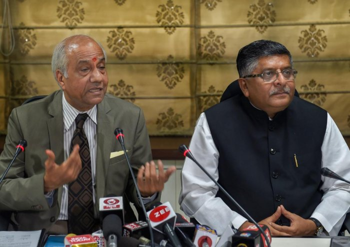 Justice B N Srikrishna addresses the media after submitting a report on 'Data Protection Framework' to Union Law Minister Ravi Shankar Prasad, in New Delhi on Friday, July 27,2018. (PTI Photo)