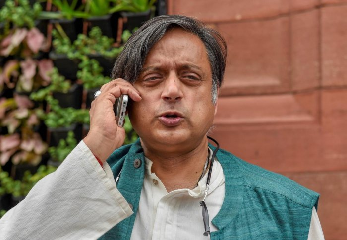 Congress MP Shashi Tharoor during the ongoing Monsoon session of Parliament, in New Delhi. (PTI Photo)