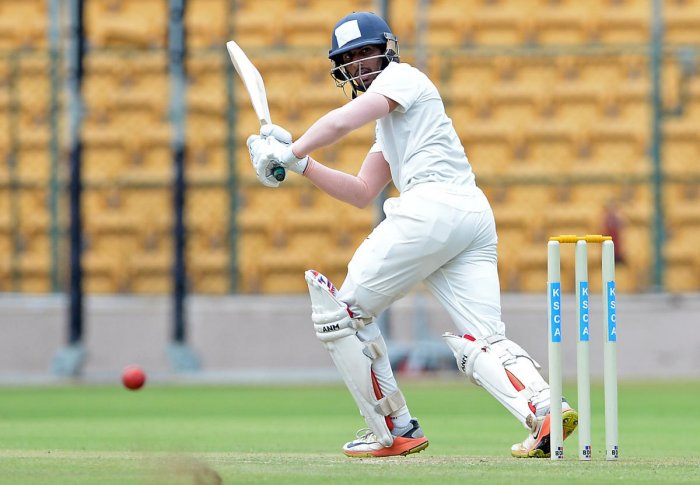 Sanjay Ramaswamy of Board President's XI en route to his 87 against South Africa 'A' in Bengaluru on Tuesday. DH photo