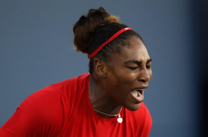 Serena Williams reacts during her defeat to Johanna Konta in the Silicon Valley Classic in San Jose on Tuesday. AFP