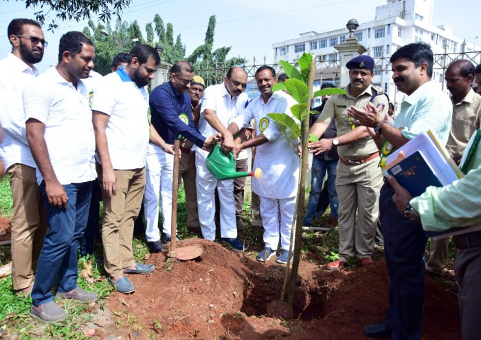 Urban Development and Housing Minister U T Khader plants a sapling at the premises of Town Hall in Mangaluru on Wednesday. MLC Harish Kumar, Deputy Conservator of Forests Dr V Karikalan and Pollution Control Board District Environment Officer Rajashekhar Puranik are present.