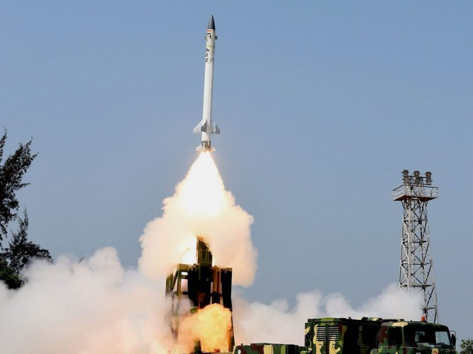 The state-of-the-art missile was test fired from a canister at 11.24 am engaging a simulated target at low altitude, the sources said. PTI file photo.