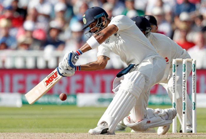 MAJESTIC: Indian captain Virat Kohli en route his century against England on the second day of the first Test. AFP