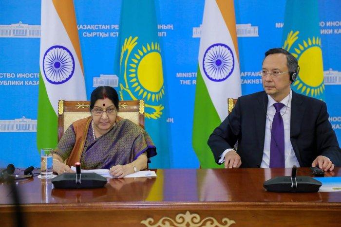External Affairs Minister Sushma Swaraj with her Kazakhstani counterpart Kairat Abdrakhmanov during India-Kazakhstan Bilateral Meet, in Astana on Friday, Aug 3, 2018. (PTI Photo)