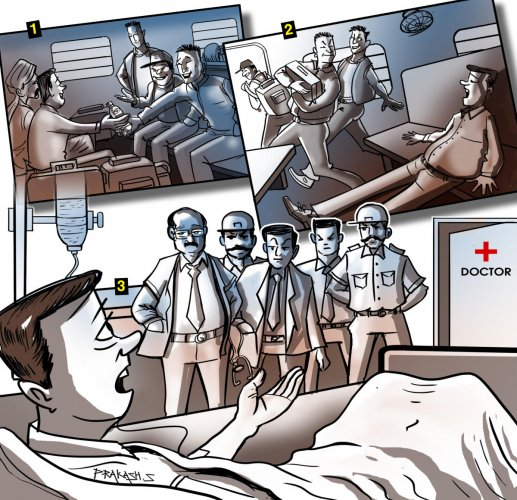 1. Gang of six offered sedative-laced juice in plastic cups to passengers on the KSR Bengaluru-New Delhi Karnataka Express. 2. The juice made the victims sleep for 25 hours at a stretch. The gang would then flee with all their valuables. 3. The passengers were so drowsy that they had to be hospitalised. DH Illustration/Prakash S