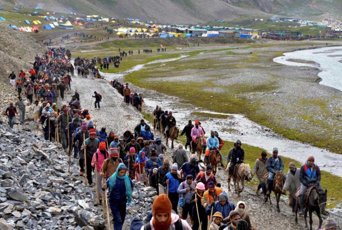 Since the annual pilgrimage began on June 28, nearly 2.72 lakh pilgrims have paid obeisance at the Holy Cave shrine situated at a height of 3,880 metres. PTI file photo