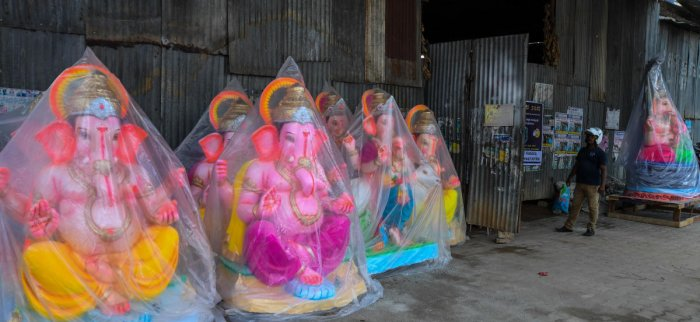 Ganesha idols made from Plaster of Paris kept on sale at RV Road in 2017. DH FILE PHOTO