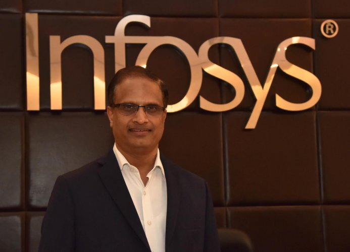 Infosys Chief Operating Officer U B Pravin Rao during the interview with DH at Infosys Campus in Bengaluru on Tuesday July 31, 2018. Photo by Janardhan B K