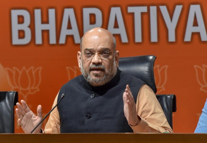 BJP National President Amit Shah addresses a press conference at the party headquarters. PTI file photo