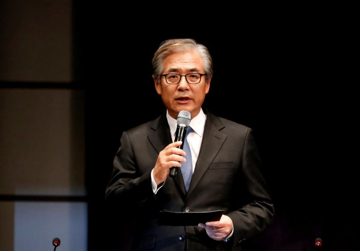 Kim Hyo-joon, chairman of BMW Korea, speaks during a news conference in Seoul, South Korea. (Reuters Photo)