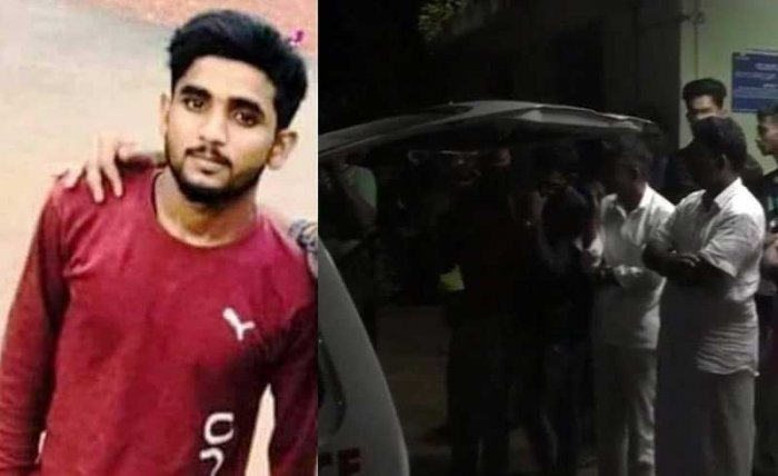 Abubakar Siddique (21), a DYFI activist from Uppalawas attacked by unknown persons in Majeshwaram around 11 pm on Sunday. (Image: ANI/Twitter)