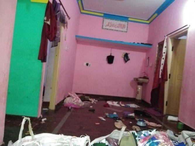 Suspect Muneer's house in Ramanagaram that was vandalised during the raid.