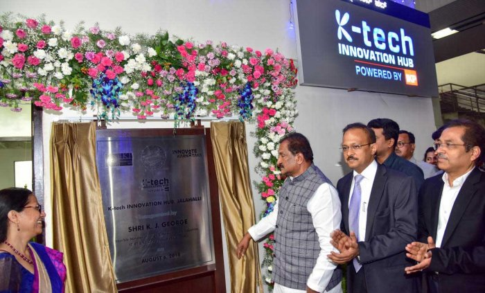 K. J. George,Minister of Large & Medium Scale Industries & Commerce, IT, BT & ST, Government of Karnataka inaugurate the KTK Innovation Hub at Jalahalli Metro Station, in Bengaluru on Monday. (From Left) Deepanwita Chattopadhyay, Chairman & CEO, IKP Knowledge Park Gaurav Gupta, Principal Secretary Dept. of Information Technology, Biotechnology and Science & Technology and R K Srivatsa, Advisor to Government, Department of IT BT & ST , Government of Karnataka are also seen. DH Photo