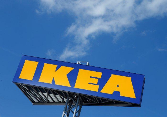 FILE PHOTO: The logo of IKEA is seen above a store in Voesendorf, Austria, April 24, 2017. REUTERS/Heinz-Peter Bader/File Photo GLOBAL BUSINESS WEEK AHEAD