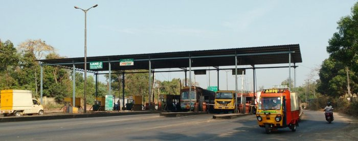 A view of the toll gate near NITK in Surathkal.