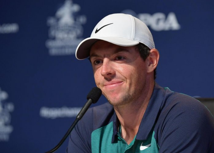 Northern Ireland's Rory McIlroy at a press conference ahead of the PGA Championship in St Louis, Missouri. AFP