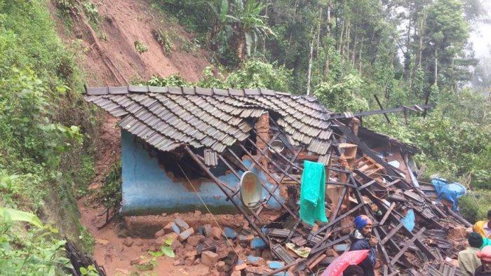 A house collapsed at Mangaladevi Nagar in Madikeri.
