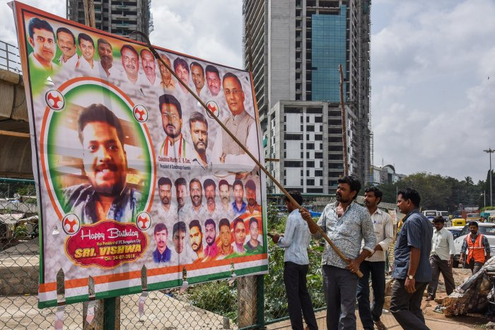 BBMP is removing illegal flexes across the city, following a High Court order. This display was on Sampige Road, Malleswaram, and was pulled down on August 2.