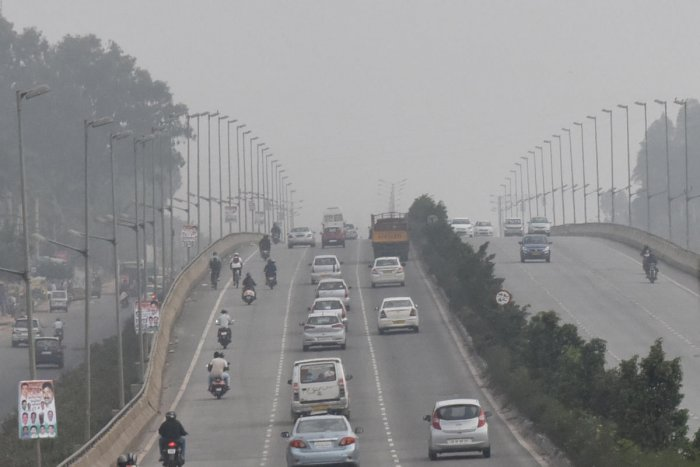 Mist is seen at airport elevated express way in Bengaluru on Sunday. Photo by S K Dinesh