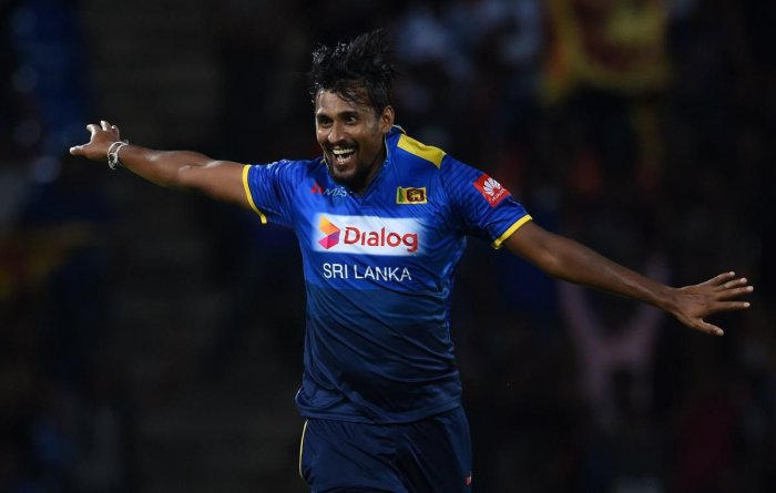 Sri Lanka's Suranga Lakmal celebrates after dismissing South Africa's David Miller during their fourth ODI match on Wednesday. AFP