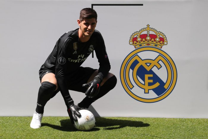 Real Madrid's Thibaut Courtois during the presentation ceremony on Thursday. REUTERS