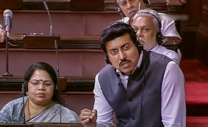 Union Sports Minister Rajyavardhan Singh Rathore speaks in the Rajya Sabha during the Monsoon session of Parliament, in New Delhi on Thursday. PTI