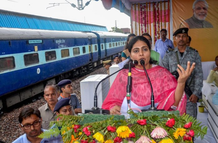 Mirzapur: Minister of State for Health and Family Welfare Anupriya Patel addresses during an inauguration program of Foot Overbridge, Solar Power Plant and WiFi facility at Mirzapur Railway Station in Mirzapur on Saturday, July 21, 2018. (PTI Photo) (PTI7